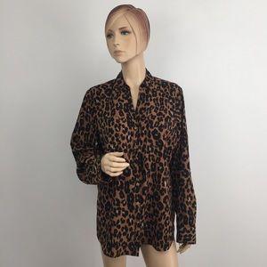 Talbots Leopard Print Convertible Sleeve Shirt XL